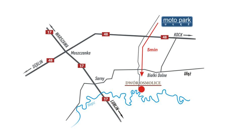Dwór Osmolice - mapa dojazdu, Moto Park Ułęż